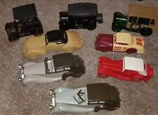 Lot of 8 Vintage Avon Decanters Mens Cologne After Shave Cars w Plastic tops