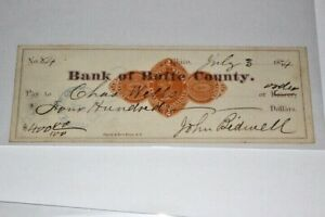 #CHK185,Bank Butte Cty Chico CA Stamp Rev1874 RARE Check Signed John Bidwell