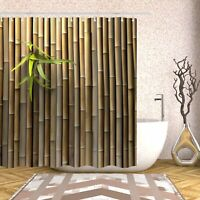 Bamboo 3D Printed Zen Spring Nature Fabric Shower Curtain Sets With 12 Bath Hook