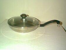 """NICE FARBERWARE 9"""" 18/10 STAINLESS STEEL IMPACT BOUNDED DISK BOTTOM & GLASS LID"""