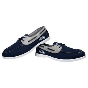 Seattle Seahawks Side Logo Team Color Boat Casual Shoes Slip On US Men's Sizing