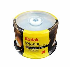 50 Kodak Branded 8X DVD+R DL Dual Double Layer Logo Top 8.5GB Blank Media Disc