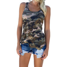 Women Camouflage Sleeveless Blouse Ladies Loose Camisole Vest Tank Top Plus size