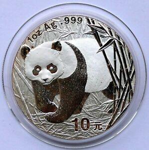 China Panda 10 Yuan 2002 Silber 1OZ in Kapsel