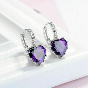 New Silver 10mm Amethyst Purple Heart CZ w/ Crystal Accents Hoop Dangle Earrings