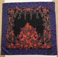 Jim Thompson Square Silk Scarf Floral  Garden Trellis  Black Blue Orange