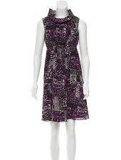 ANTHROPOLOGIE - ANNA SUI Ruffle Neck Abstract Prints Silk dress 12 L $578 NEW
