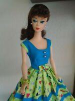 MATTEL VINTAGE BRUNETTE PONYTAIL REPRO BARBIE DOLL W/BEAUTIFUL UNIQUE DRESS!