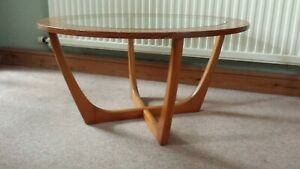 Vintage teak and glass round coffee table