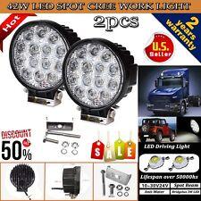 2PCS 42W Cree LED WORK LIGHT BAR SPOT BEAM LAMP OFFROAD TRUCK 12V SUV UTE ATV