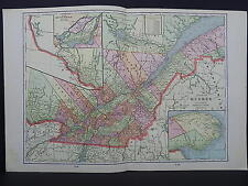 Map Canada, Province of Quebec George F. Cram 1901 ONE Double-Sided Map #2