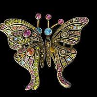Heidi Daus Swarovski Crystal MADAME BUTTERFLY clip earrings