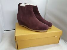 WHITE STUFF Issy Wedge Ankle Boots-Plum Size UK8