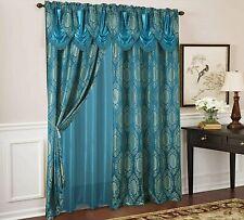 Olivia Gray Kenyon Damask Textured Jacquard 54 x 84 in. Single Rod Pocket...
