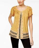 NEW Style & Co. Printed Pleated Top Global Scarf Gold Curry Jersey S or XL (S1)