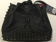 TRUE RELIGION WOMEN LEATHER BUCKET BAG BLACK TRHD013 NWT OS $249 PREMIUM QUALITY