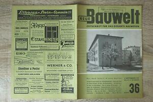 NEUE Bauwelt Zeitschrift Bauwesen Heft 36 3.9.1951 Architektur Aufbauwohnungen