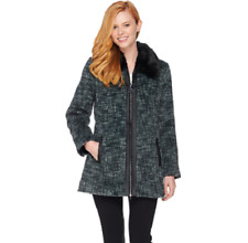 Dennis Basso Zip Front Tweed Coat with Faux Fur Collar MED (10-12) NEW