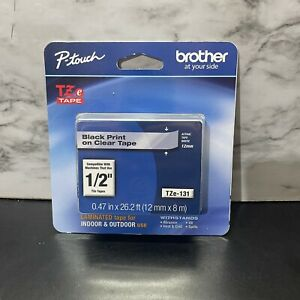 """P-TOUCH BROTHER TZE-131 BLACK PRINT ON CLEAR TAPE 12MM x 8M 1/2"""""""