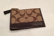 COACH $48 Retail Signature Mini Skinny Coin Case Key Ring Brown~Excellent!