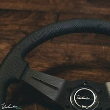 PERFORATED LEATHER BLACK STITCH FITS MOMO VIILANTE MODENA 350 STEERING WHEEL