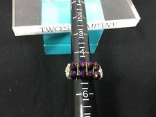 Two's Company Two Row Purple Bead Stretch Band Ring NWT