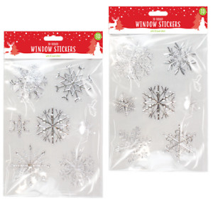 2  x 3D Effect Christmas Foiled Snowflake Window Stickers