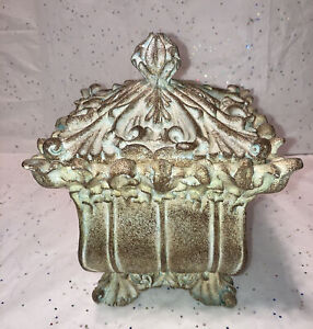 Vintage Ceramic Ornate Distressed Resin Box With Lid Home Decor