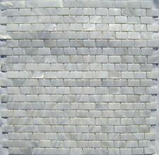 "Genuine Mother of Pearl White 5/8"" x 1"" Brick Tile (on 12"" x 12"" mesh)"
