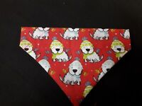 Slide on dog bandana size XS in Christmas dogs in hat and  scarfs  polycotton