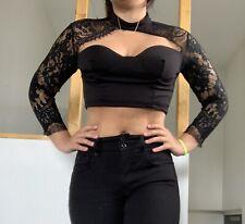 Crop Top Femme Noir Dentelle Sexy Taille M