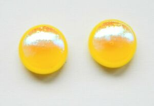 Dichroic Glass Sterling Silver Stud Earrings - Yellow Iridescent