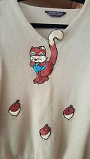 TRUE VINTAGE 1970s Squirrel Sweater Embroidered RETRO Applique HIPSTER Unique