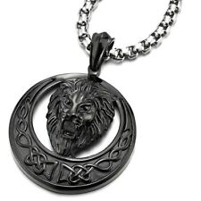 """Circle Pendant Necklace with 30"""" Chain Biker Stainless Steel Black Roaring Lion"""