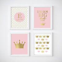 Girl's Nursery Prints Wall Art Kids Room Decor, Princess, Gold, Dream Big