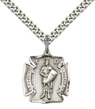 "Sterling Silver St. Florian Pendant 24"" Chain 0070SS/24S"