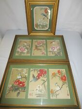 Vtg 3 piece setFramed Asian Chinese Oriental Painting on Gold Silk  Birds Signed