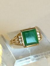 Small Green Jade /diamonds/18k Gold Ring Size 5.5