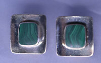 VINTAGE 1980s BOMA STERLING SILVER MALACHITE CONCAVE RECTANGLE PIERCED EARRINGS