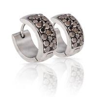 Luxury Platinum Plated Earrings Silver Tone Ball Women White Zircons Hoops E886