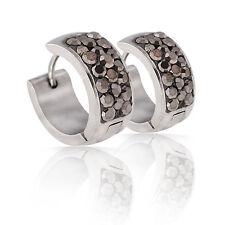 Elegant & Shiny AB Black CZ Crystal Stainless Steel Small Hoop Earrings E463