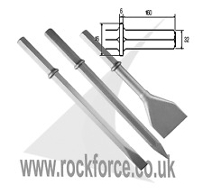 """Hex 32mm 1 1/4"""" Chisel+Point +Tarmac Cutter Made in UK"""