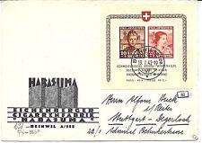 SUISSE. Bloc N°6 seul sur lettre pour Stuttgart. Pub cigares. Signée Roumet.