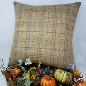 Autumn Check Brown gold sand WOOL Harris Tweed Quality handmade Cushion Cover