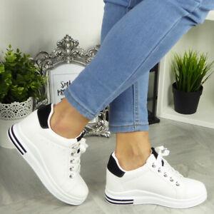 Womens Wedge Trainers Hi Top Sneakers Lace Up Ladies Hidden Heel Pumps Shoes Siz