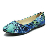 Womens Ballet Casual Flats Loafers Floral Pointed Toe Shoes Outdoor Boat
