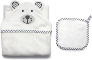 Animal Head Hooded Towels Bear- bamboo terry, This towel is ultra soft, free of