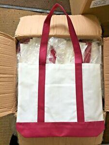 10 x  TOTE BAG - SHOPPER BEACH BOOK BAG- NATURAL/BURGUNDY