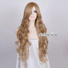 Fashion Black/Blonde/Blue/Pink Long 85CM Curly Lolita Lady Wig + Wig Cap Cosplay