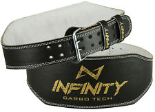 "20 Infinity Original Leather 6"" Weight Lifting Belt Padded Back Support Gym Belt"